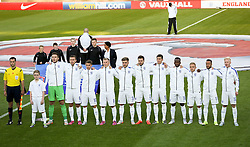 England players line up for the National Anthem - Photo mandatory by-line: Matt McNulty/JMP - Mobile: 07966 386802 - 11/06/2015 - SPORT - Football - Barnsley - Oakwell Stadium - England U21 v Belarus U21 - International Friendly U21s