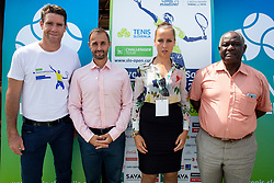 Gregor Krusic (director of Tennis Slovenia), Aljaz Kos (director of Zavarovalnica Sava), Peter Bossman (Mayor of Piran) and Nina Spremo (organizer of Tennis Fest) at press conference of ATP Challenger Zavarovalnica Sava Slovenia Open 2018, on August 6, 2018 in Sports centre, Portoroz/Portorose, Slovenia. Photo by Urban Urbanc / Sportida