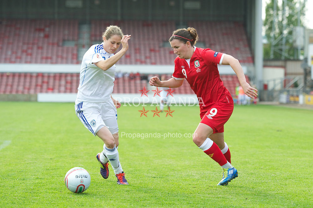 WREXHAM, WALES - Wednesday, June 20, 2012: Wales' Helen Lander in action against Israel during the UEFA Women's Euro 2013 Qualifying Group 4 match at the Racecourse Ground. (Pic by David Rawcliffe/Propaganda)