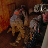 Marines of the 1st Battalion, 5th Marines infantry unit from Camp Pendleton, Ca. participate in a platoon-level urban-warfare training at the Marine Corp Air Ground Combat Center at Twentynine Palms in the Mojave Desert, Thursday, Jan., 25, 2007. Eric Reed/Staff photographer
