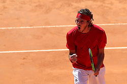 May 4, 2018 - Estoril, Portugal - Stefanos Tsitsipas of Greece celebrates a point over Roberto Carballes Baena of Spain during the Millennium Estoril Open ATP 250 tennis tournament quarterfinals, at the Clube de Tenis do Estoril in Estoril, Portugal on May 4, 2018. (Credit Image: © Pedro Fiuza via ZUMA Wire)