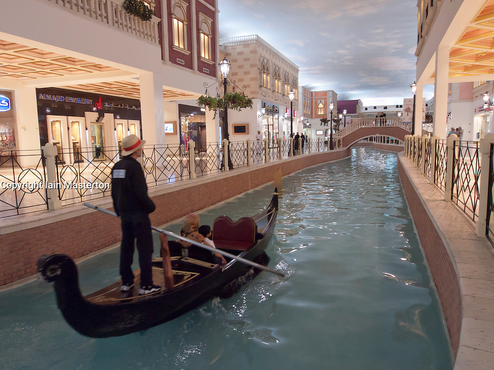 Italian themed Villagio Mall with canal and gondola ride in Doha Qatar