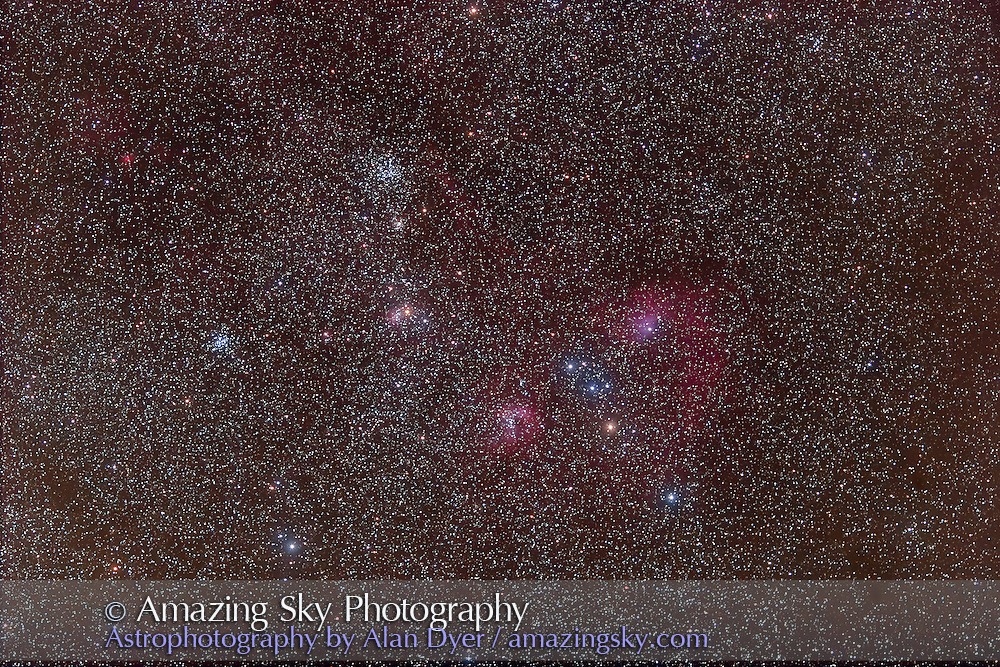 M36 and M38 + NGC 405/410 area in Auriga with 135mm Canon telephoto lens at f/2.8. With Canon 20Da camera at ISO400. Stack of four 3-minute exposures, taken Nov. 18, 2006. Glow layer added to fuzz stars (Median filtered and Gaussian blurred)