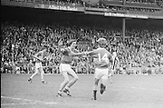 Two Tipperary players celebrate after scoring a goal during the All Ireland Minor Hurling Final, Tipperary v Kilkenny in Croke Park on the 5th September 1976.