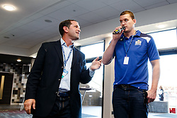 Ben Breeze hosts a Pre Match Q&A in the Heineken Lounge with Bristol Rugby Players Ross McMillan and Ian Evans (pictured) as well as Bristol Ladies and England 7's player Amy Wilson-Hardy - Mandatory byline: Rogan Thomson/JMP - 07966 386802 - 06/09/2015 - RUGBY UNION - Ashton Gate Stadium - Bristol, England - Bristol Rugby v Bedford Blues - Greene King IPA Championship.