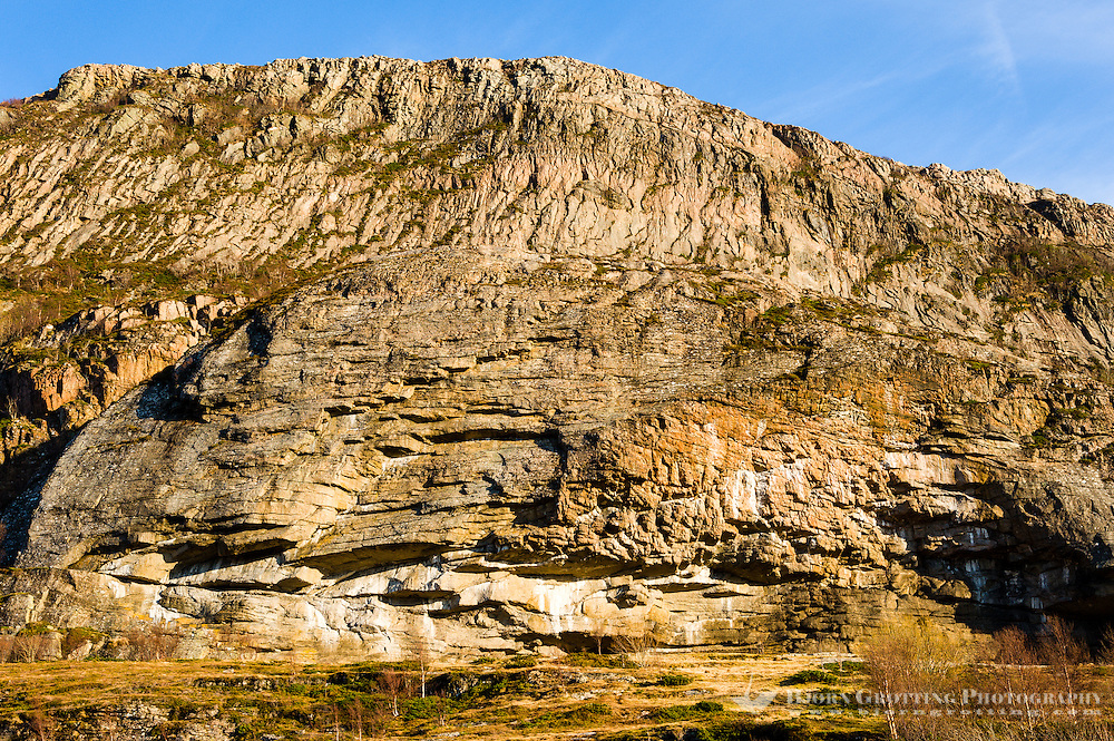 Stokksund, Norway. Cliff often used by climbers on Harbak.