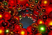 Close-up of a bright and colorful Christmas wreath.