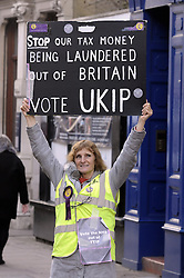 © Licensed to London News Pictures. 20/11/2014<br /> UKIP members in Rochester High Street..<br /> Rochester and Strood Parliamentary By-Election polling day, today (20.11.2014) in Kent.<br /> <br /> (Byline:Grant Falvey/LNP)