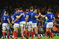 Football - 2020 Guinness Six Nations Championship - Wales vs. France<br /> <br /> France celebrate after withstanding  prolonged welsh pressure at the end of the 1st half, at the Principality (Millennium) Stadium.<br /> <br /> COLORSPORT/WINSTON BYNORTH