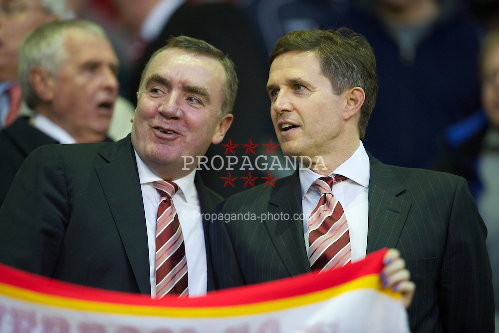 LIVERPOOL, ENGLAND - Thursday, April 8, 2010: Liverpool's commercial director Ian Ayre (L) and managing director Christian Purslow (R) before the UEFA Europa League Quarter-Final 2nd Leg match against Sport Lisboa e Benfica at Anfield. (Photo by: David Rawcliffe/Propaganda)