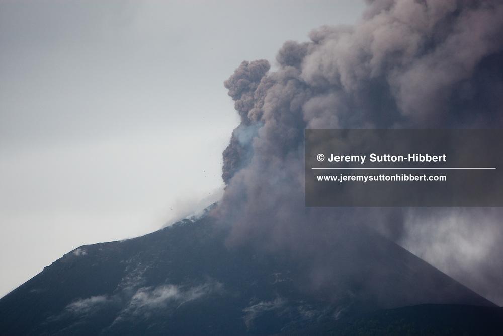 Krakatoa and Anak-Krakatoa volcanoes, in the Sunda Straits, Indonesia, 24th October 2010