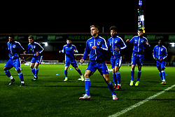 Kieran Phillips of Bristol Rovers and teammates warm up - Mandatory by-line: Robbie Stephenson/JMP - 29/10/2019 - FOOTBALL - County Ground - Swindon, England - Swindon Town v Bristol Rovers - FA Youth Cup Round One