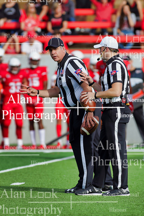 NORMAL, IL - October 06: Jim Scifres & Matt Packowski during a college football game between the ISU (Illinois State University) Redbirds and the Western Illinois Leathernecks on October 06 2018 at Hancock Stadium in Normal, IL. (Photo by Alan Look)