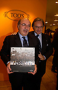 Dante Ferretti and Diego Della Valle. Tod's hosts Book signing with Dante Ferretti celebrating the launch of 'Ferretti,- The art of production design' by Dante Ferretti. tod's, Old Bond St. 19 April 2005.  ONE TIME USE ONLY - DO NOT ARCHIVE  © Copyright Photograph by Dafydd Jones 66 Stockwell Park Rd. London SW9 0DA Tel 020 7733 0108 www.dafjones.com