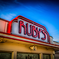 Photo of Ruby's Diner sign on Balboa Pier on Balboa Peninsula in Newport Beach California. Ruby's Diner is a classic 1940's style American diner. Newport Beach is a beach community along the Pacific Ocean in Orange County Southern California.
