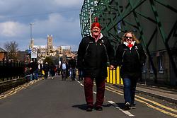 Fans arrive at Sincil Bank ahead of Lincoln City v Cheltenham Town - Mandatory by-line: Robbie Stephenson/JMP - 13/04/2019 - FOOTBALL - Sincil Bank Stadium - Lincoln, England - Lincoln City v Cheltenham Town - Sky Bet League Two