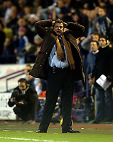 Photo: Jed Wee.<br /> Bolton Wanderers v Marseille. UEFA Cup. 15/02/2006.<br /> <br /> Bolton manager Sam Allardyce rues a late chance for Stelios Giannakopoulos that goes begging.