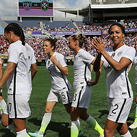 ORLANDO, FL - OCTOBER 25: Sydney Leroux #2 of USWNT claps to the fans prior to the start of a women's international friendly soccer match between Brazil and the United States at the Orlando Citrus Bowl on October 25, 2015 in Orlando, Florida. (Photo by Alex Menendez/Getty Images) *** Local Caption *** Sydney Leroux