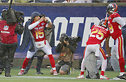 Jan 27, 2019; Orlando, FL, USA; AFC quarterback Patrick Mahomes of the Kansas City Chiefs (15) takes a photo of his team with his phone after scoring a touchdown in the NFL Pro Bowl football game at Camping World Stadium.  The AFC beat the NFC 26-7. (Steve Jacobson/Image of Sport)