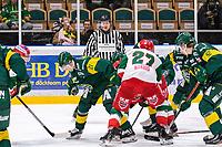2019-12-02 | Umeå, Sweden:Referee say don´t fooling around with the puck guys in  HockeyAllsvenskan during the game  between Björklöven and Mora at A3 Arena ( Photo by: Michael Lundström | Swe Press Photo )<br /> <br /> Keywords: Umeå, Hockey, HockeyAllsvenskan, A3 Arena, Björklöven, Mora, mlbm191202