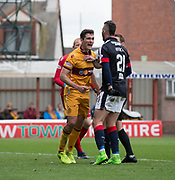 Motherwell's Carl McHugh confronts Dundee's Marcus Haber - Motherwell v Dundee, Fir Park, Motherwell, Photo: David Young<br /> <br />  - © David Young - www.davidyoungphoto.co.uk - email: davidyoungphoto@gmail.com