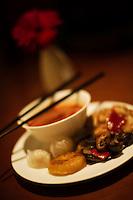 An assortment of Asian appetizers.