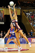 Laura Geitz makes an intercept for the Firebirds ~ Netball action from ANZ Championship Grand Final - Queensland Firebirds v Northern Mystics - played at the Brisbane Convention Centre on Sunday 22nd May 2011 ~ Photo : Steven Hight (AURA Images) / Photosport