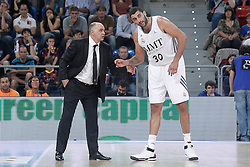 05.10.2013, Fernando Buesa Arena, Vitoria Gazteiz, ESP, Supercopa ACB, FC Barcelona vs Real Madrid, Finale, im Bild Real Madrid's coach Pablo Laso (l) with Ioannis Bourousis // during the Supercopa ACB Final match between Barcelona FC vs Real Madrid at the Fernando Buesa Arena in Vitoria Gazteiz, Spain on 2013/10/05. EXPA Pictures © 2013, PhotoCredit: EXPA/ Alterphotos/ Acero<br /> <br /> ***** ATTENTION - OUT OF ESP and SUI *****