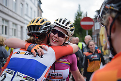 Anna van der Breggen thanks Chantal Blaak for her help at Boels Rental Ladies Tour Stage 5 a 141.8 km road race from Stamproy to Vaals, Netherlands on September 2, 2017. (Photo by Sean Robinson/Velofocus)