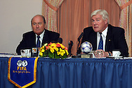 26.04.2002, Helsinki, Finland.<br />The FIFA President Joseph S. Blatter (left) and the Finnish FA chairman Pekka H?m?l?inen at the press conference after the unveiling ceremony of the 2003 FIFA U-17 World Championship emblem in the Scandic Continental Hotel in Helsinki. <br />&copy;Juha Tamminen