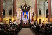 Religious service inside the Carmelite church, Basilica of Our Lady of Mount Carmel, Valletta, Malta