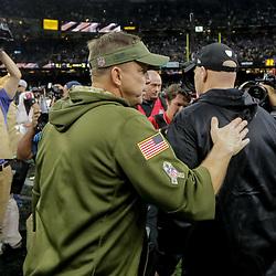 Nov 22, 2018; New Orleans, LA, USA; New Orleans Saints head coach Sean Payton and Atlanta Falcons head coach Dan Quinn following a game the Mercedes-Benz Superdome. Mandatory Credit: Derick E. Hingle-USA TODAY Sports