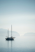 Sailboat on anchor in the Hood Canal, WA