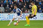 Bristol Rovers striker Matt Taylor turns Chesham United defender Nick Beasant during the The FA Cup match between Bristol Rovers and Chesham FC at the Memorial Stadium, Bristol, England on 8 November 2015. Photo by Alan Franklin.