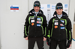 Primoz Peterka and Matjaz Triplat of Slovenia during Normal Hill Individual Competition at FIS World Cup Ski jumping Ladies Ljubno 2012, on February 11, 2012 in Ljubno ob Savinji, Slovenia. (Photo By Vid Ponikvar / Sportida.com)