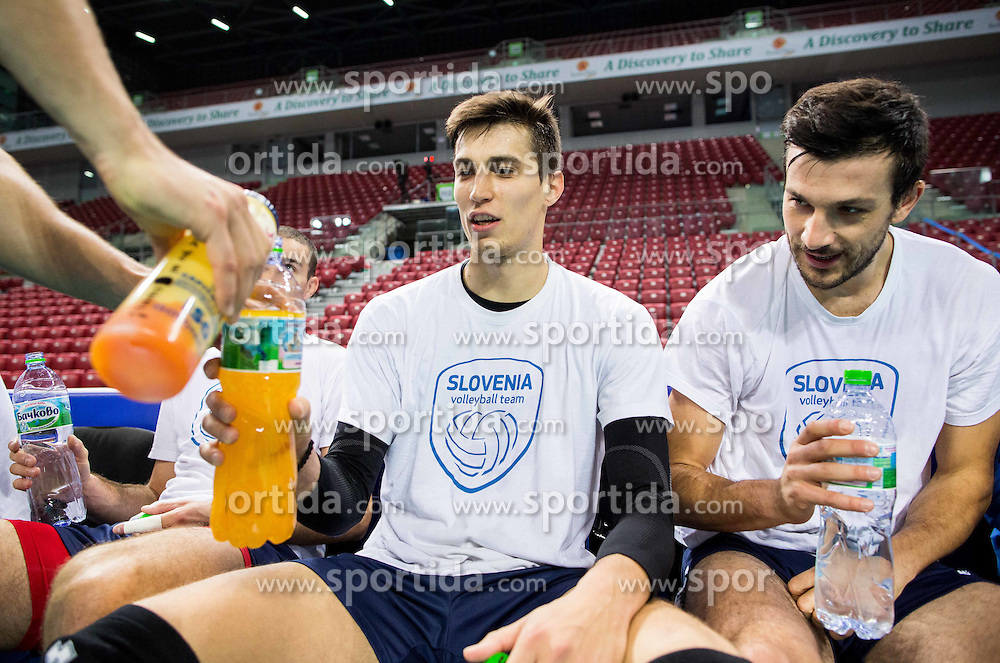 Klemen Cebulj and Mitja Gasparini during practice session of Slovenian National Volleyball team in the morning before Semifinal match against Italy at 2015 CEV Volleyball European Championship - Men, on October 17, 2015 in Arena Armeec, Sofia, Bulgaria. Photo by Vid Ponikvar / Sportida