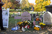 "Voters visit the gravesite of Susan B. Anthony, the social reformer who played a key part in the movement for women's suffrage, at Mount Hope Cemetery in Rochester on Tuesday, November 8, 2016. Many placed their ""I Voted"" stickers on Anthony's headstone."