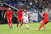 Fekir Nabil of Lyon and Jallet Christophe of Nice and Lees-Melou Pierre of Nice during the French championship L1 football match between Olympique Lyonnais and Amiens on August 12th, 2018 at Groupama stadium in Decines Charpieu near Lyon, France - Photo Romain Biard / Isports / ProSportsImages / DPPI