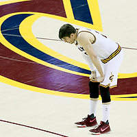 09 June 2017: Cleveland Cavaliers guard Kyle Korver (26) rests during the Cleveland Cavaliers 137-11 victory over the Golden State Warriors, in game 4 of the 2017 NBA Finals, at  the Quicken Loans Arena, Cleveland, Ohio, USA.