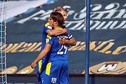 AFC Wimbledon striker Joe Pigott (39) GOAL 1-1 with AFC Wimbledon attacker Ryan Longman (29) during the EFL Sky Bet League 1 match between AFC Wimbledon and Plymouth Argyle at the Kiyan Prince Foundation Stadium, London, England on 19 September 2020.