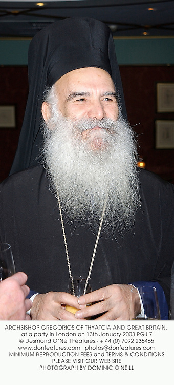 ARCHBISHOP GREGORIOS OF THYATCIA AND GREAT BRITAIN, at a party in London on 13th January 2003.	PGJ 7