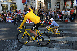 Bradley Wiggins and his son Ben after winning the Tour de France in Paris, Sunday, 22nd July 2012.  Photo by:  i-Images / Bureau233