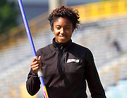 Delaware State junior Kristen Johnson prior to the start of the Javelin Throw in the Women's Heptathlon at the 2011 MEAC Track and Field Championship held at North Carolina A&T in Greensboro, North Carolina.  (Photo by Mark W. Sutton)