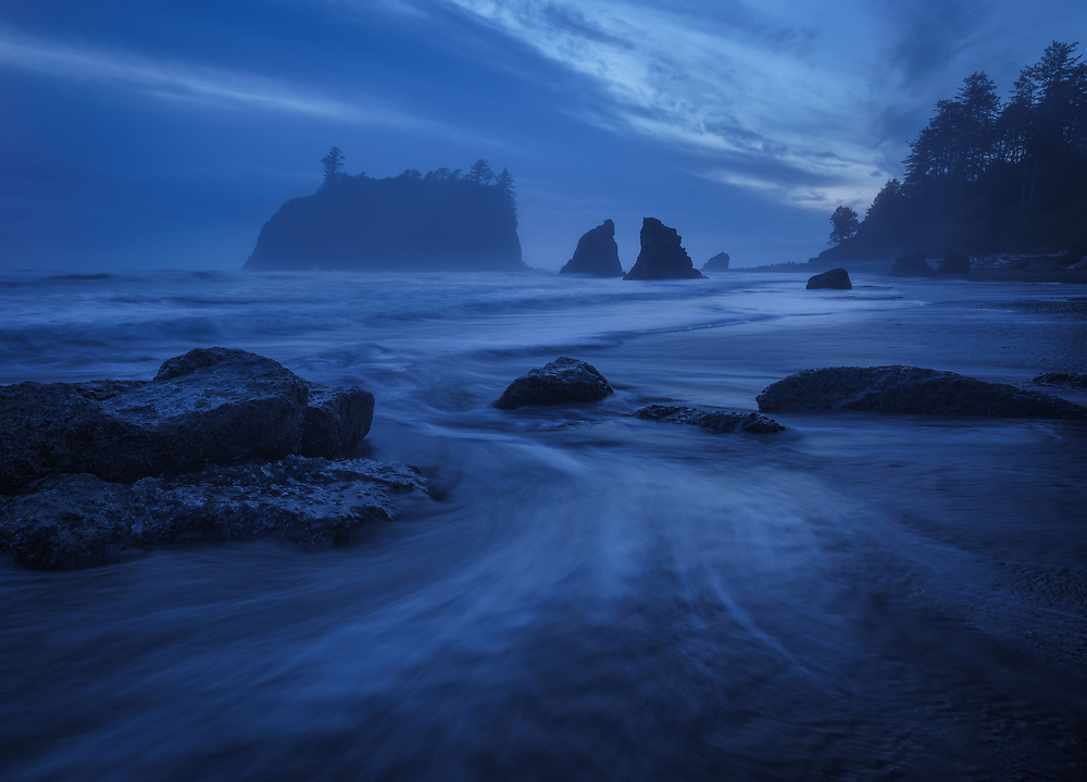 Twilight blues after sunset, Ruby Beach, Olympic National Park, WA, USA