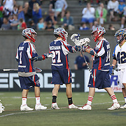 Members of the Boston Cannons celebrate a goal during the game at Harvard Stadium on May 17, 2014 in Boston, Massachuttes. (Photo by Elan Kawesch)