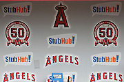 ANAHEIM, CA - MAY 22:  The StubHub! sponsorship names and logos appear on the dugout wall at the game between the Atlanta Braves and the Los Angeles Angels of Anaheim on Sunday, May 22, 2011 at Angel Stadium in Anaheim, California. The Angels won the game 4-1. (Photo by Paul Spinelli/MLB Photos via Getty Images)