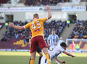 Penealty claim for Dundee as Motherwell's Louis Laing flattens Paul McGowan - Motherwell v Dundee, SPFL Premiership at Fir Park<br /> <br />  - &copy; David Young - www.davidyoungphoto.co.uk - email: davidyoungphoto@gmail.com