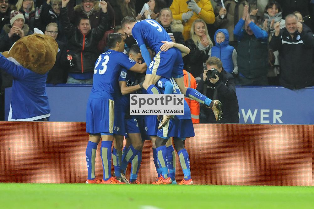 Jami Vardy piles on to the celebration as Leicester go 2-0 up (c) Simon Kimber | SportPix.org.uk