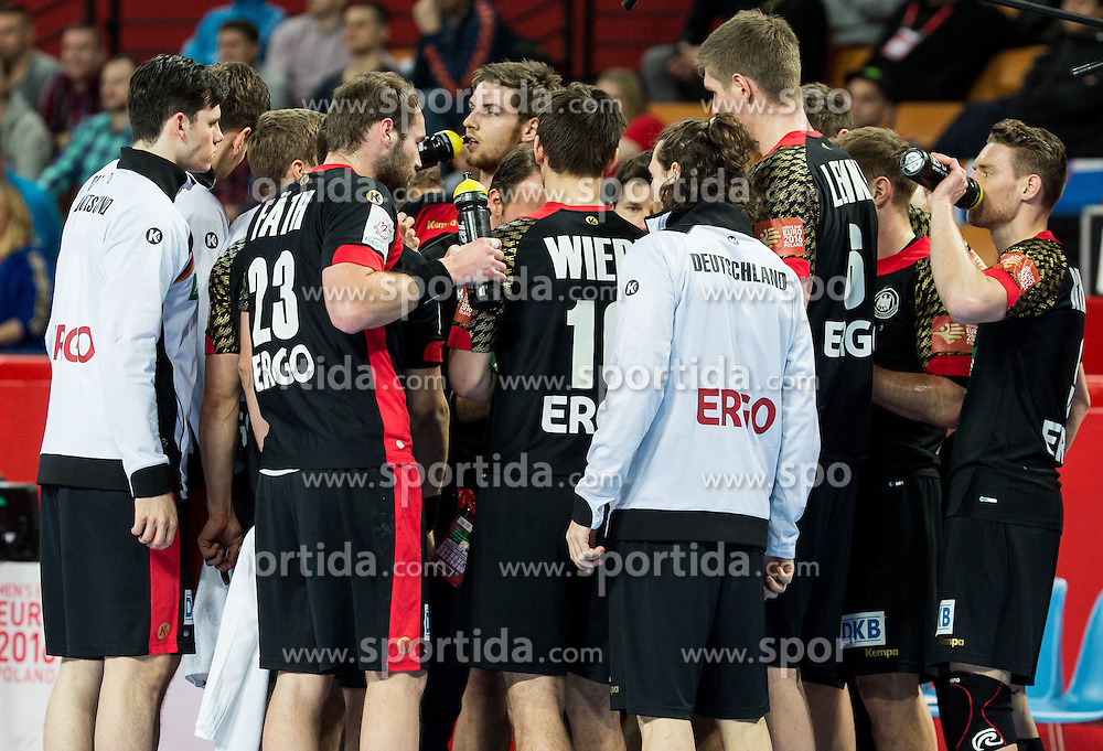 Players of Germany during handball match between National teams of Germany and Slovenia on Day 6 in Preliminary Round of Men's EHF EURO 2016, on January 20, 2016 in Centennial Hall, Wroclaw, Poland. Photo by Vid Ponikvar / Sportida