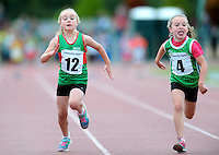 21 Aug 2016: Emily Duffy, left, Mayo, and Grace Whooley, from Limerick, head for the finish line in the U8 Girls 60m final.  2016 Community Games National Festival 2016.  Athlone Institute of Technology, Athlone, Co. Westmeath. Picture: Caroline Quinn
